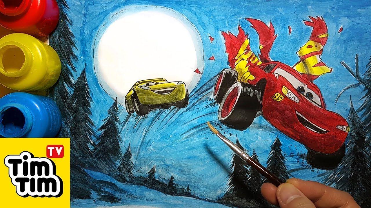 How To Color Cars 3 Lightning Cruz Racing Through A Wood