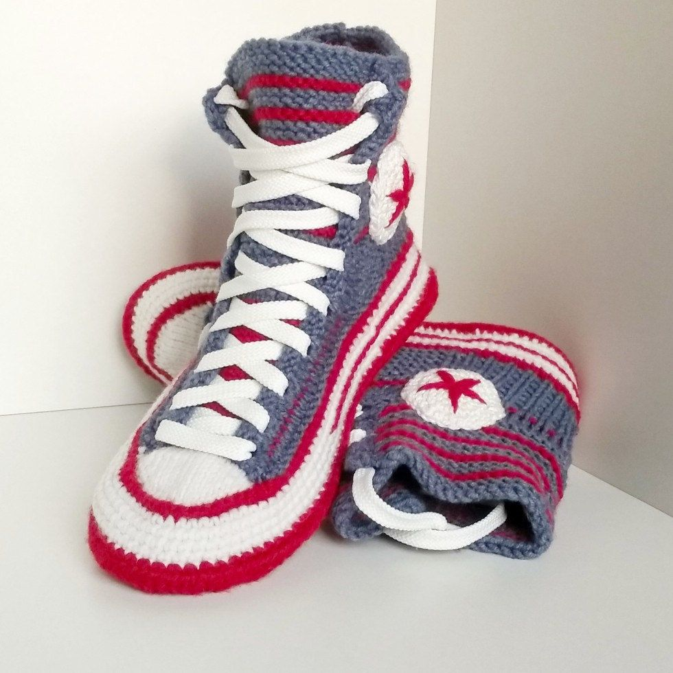 Converse slippers, House shoes crochet