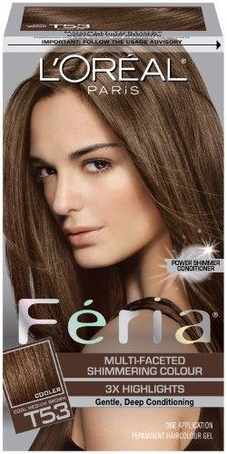 L Oreal Paris Feria Multi Faceted Shimmering Colour T53 Cool Medium Brown Brown Hair Dye Box Hair Dye Boxed Hair Color
