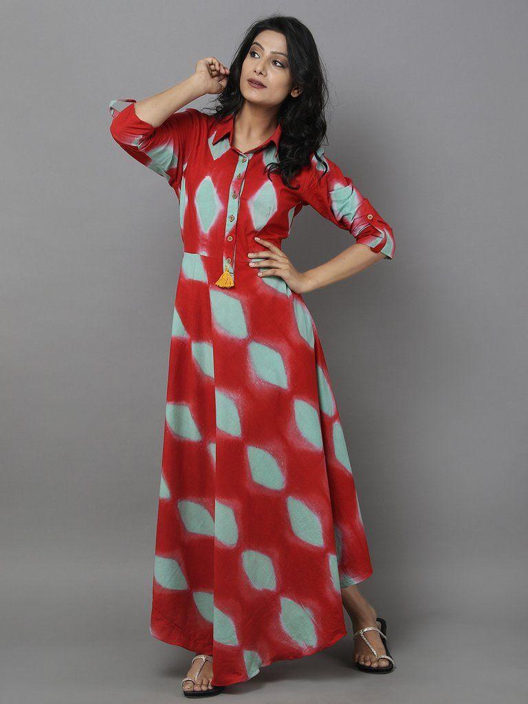 Red Green Clamp Dyed Cotton Dress Model Dress Cotton Dresses Indian Summer Dress [ 1024 x 768 Pixel ]
