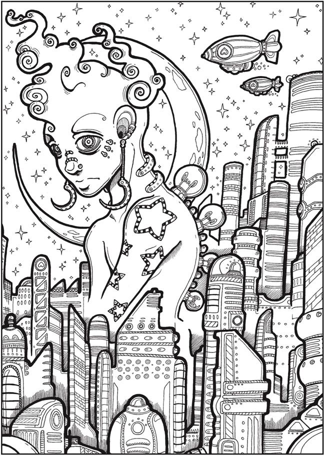 Creative Haven Futuristic Worlds Coloring Book Dover Publications Abstract Coloring Pages Unique Coloring Pages Love Coloring Pages