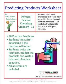Predicting Products of Chemical Reactions | A+ Classroom Teachers ...