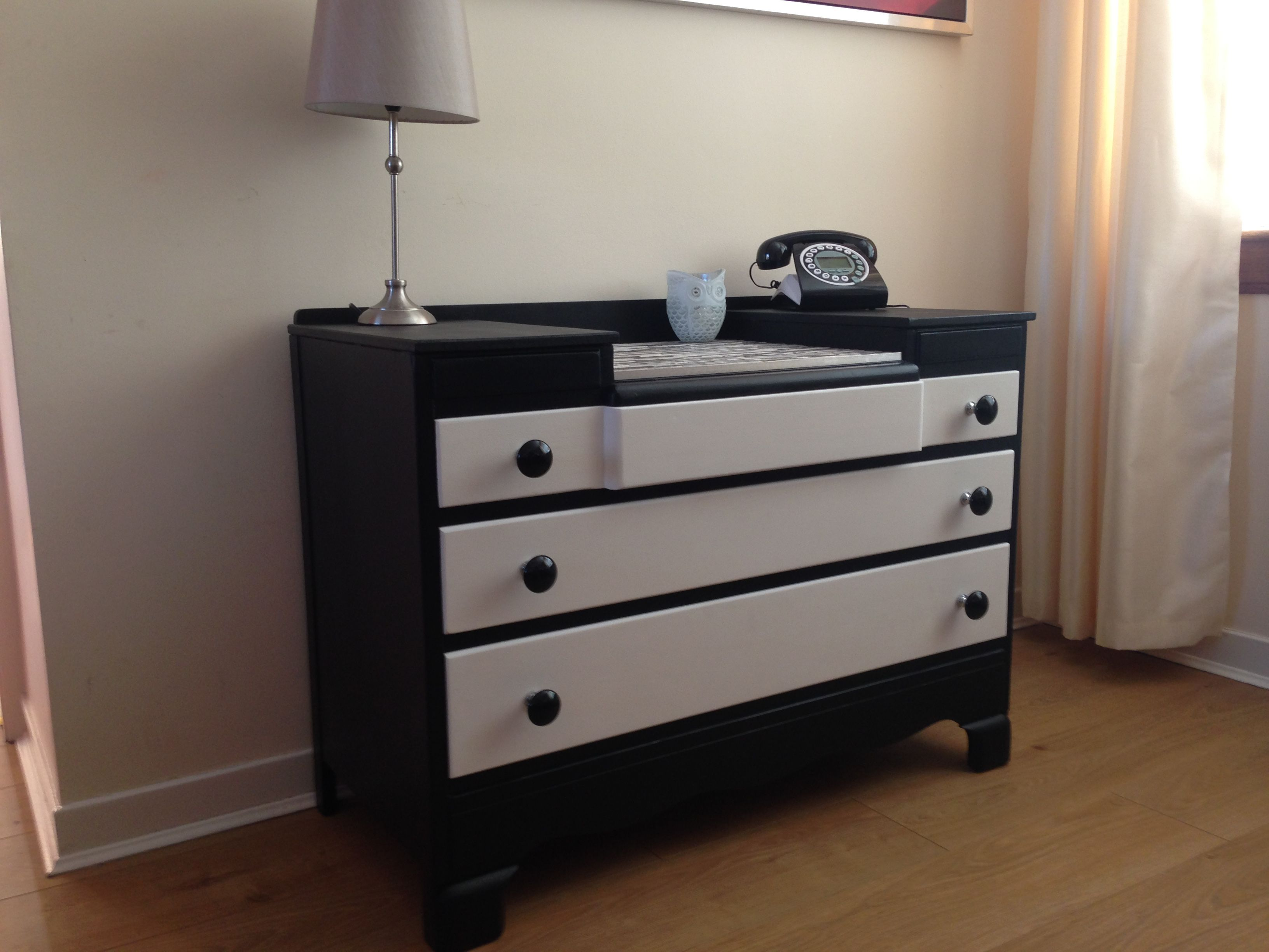 Beautiful Upcycled 1960u0027s Lebus Furniture Dresser/chest Of Drawers In Black  And White With Black