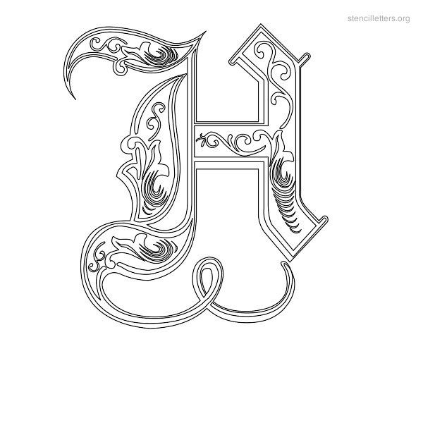 ornate letter h stencil decorative letter h