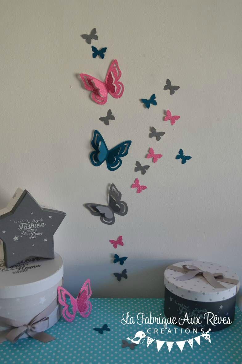 stickers papillons 3D rose vif bleu pétrôle canard gris - décoration ...