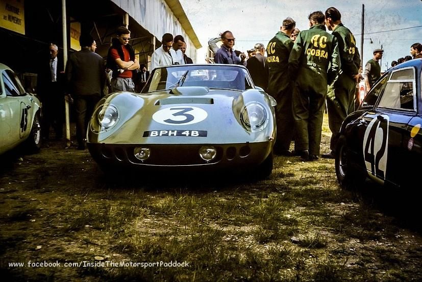 1964 Le Mans 24h, pesage, A.C. Cars Ltd. with the AC Cobra Coupe # A98 nr3 (Sears-Bolton) dnf . ©E.Barbier ? . # Inside The Motorsport Paddock #