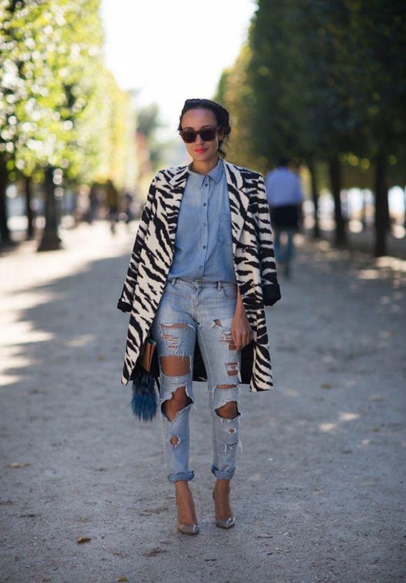 Denim with denim and an animal print jacket/coat. Hello? Love!