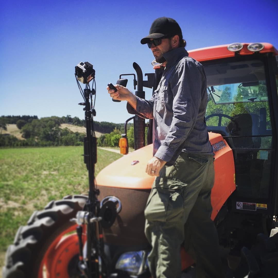 An awesome Virtual Reality pic! @juddoverton lining up a VR tractor-cam today on our latest shoot! Check back to see the results soon :)) by start_vr check us out: http://bit.ly/1KyLetq