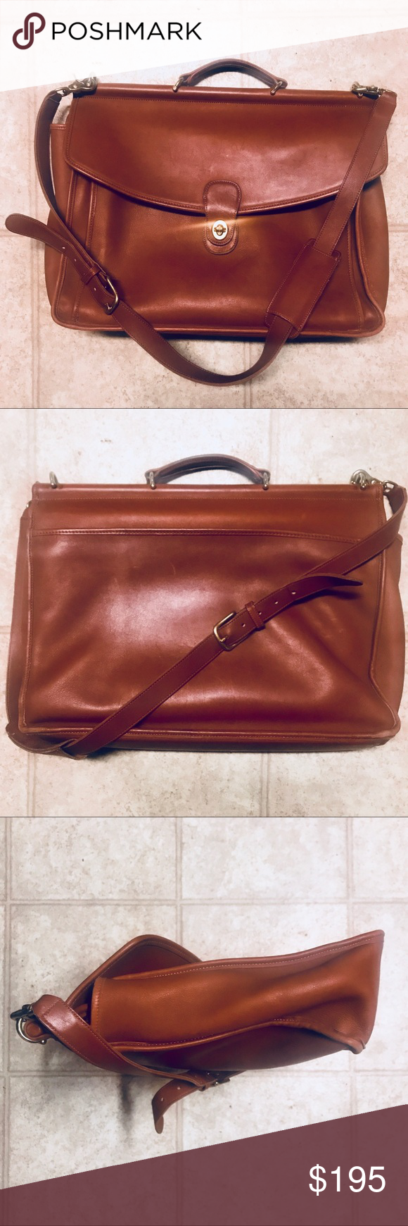 """a389aefd0be3 Coach Beekman Leather Briefcase Messenger Bag Vintage Coach Leather  """"Beekman"""" Briefcase Gently Loved Condition"""