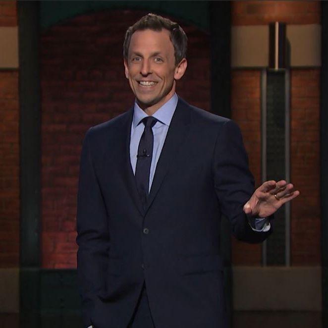 Jimmy Fallon-Grey suit-White shirt-Light blue tie-Tonight show ...