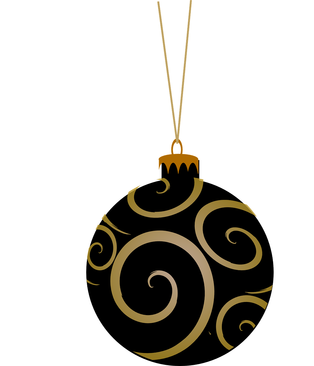 Vacation, Bauble, Black, Tree, Round, Gold vacation,