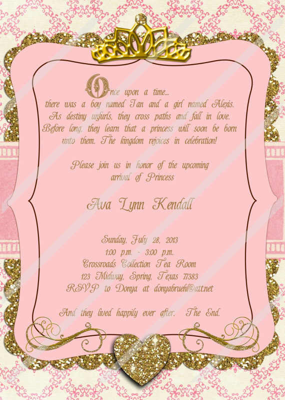 once upon a time invitation princess invitation pink and gold invitation baby shower birthday fairy tale invitation