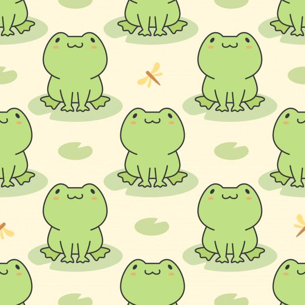 Cute Frog Seamless Pattern Cute Frogs Frog Wallpaper Frog Illustration