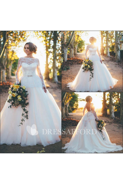 Bridal princess open back longsleeve gorgeous dress country