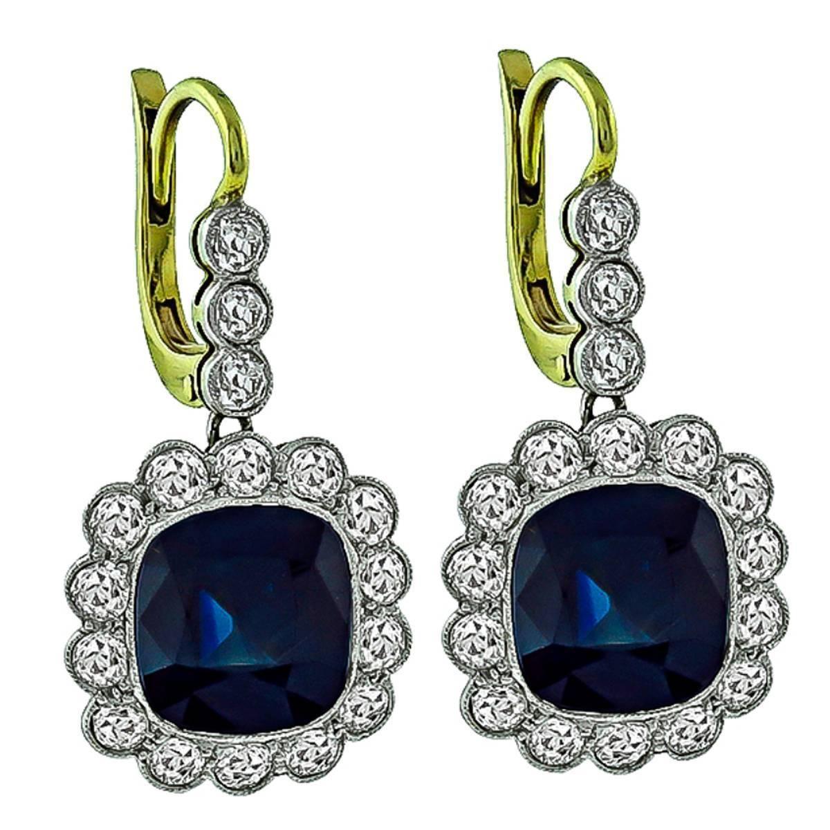 Impressive Sapphire Diamond Two Tone Gold Earrings