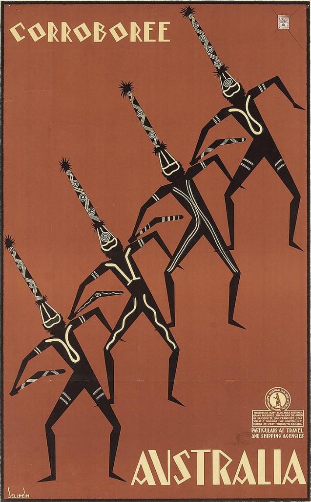 Australia Australian Boomerang Airplane Vintage Travel Advertisement Art Poster