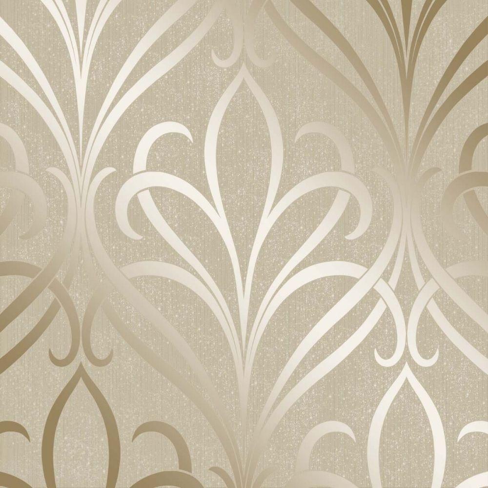 Henderson interiors camden damask wallpaper cream gold for Cream wallpaper for walls