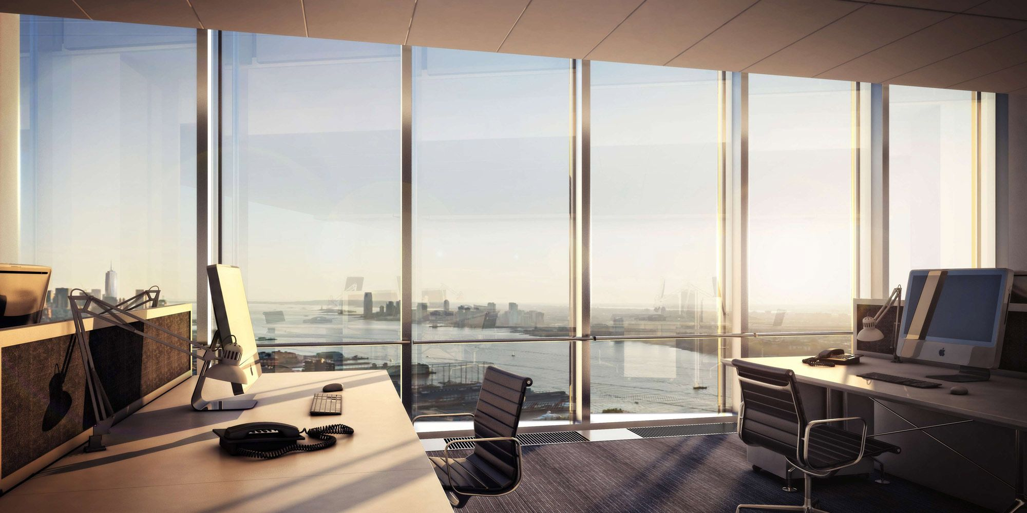 Executive Office View 10 hudson yards, open office view south, ©vh - 02/2012   renders