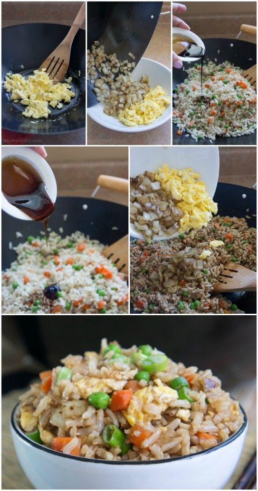 Quick and Easy Brown Fried Rice ~ You'll need eggs, diced onion, garlic cloves, minced ginger, frozen peas carrots, cold cooked brown rice, soy sauce, oyster sauce, sesame oil chopped green onions. By iwashyoudry.com