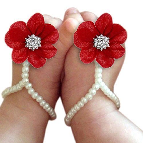 51dde461e Baby Girl Pearl Chiffon Foot Flower Shoes Barefoot Sandals (Red)  brand new  and high quality.