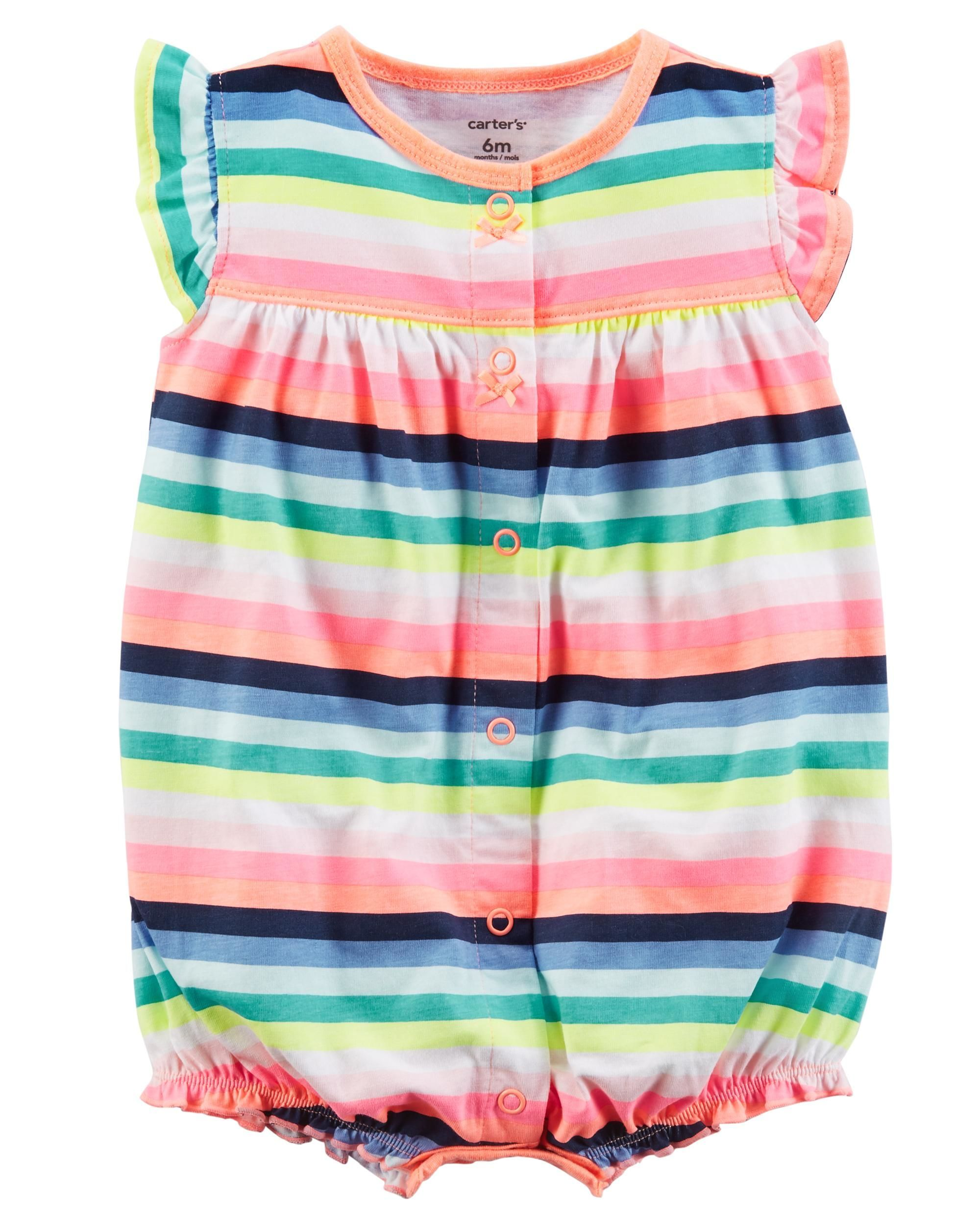 0a900aabfb3c Baby Girl Butterfly Snap-Up Cotton Romper