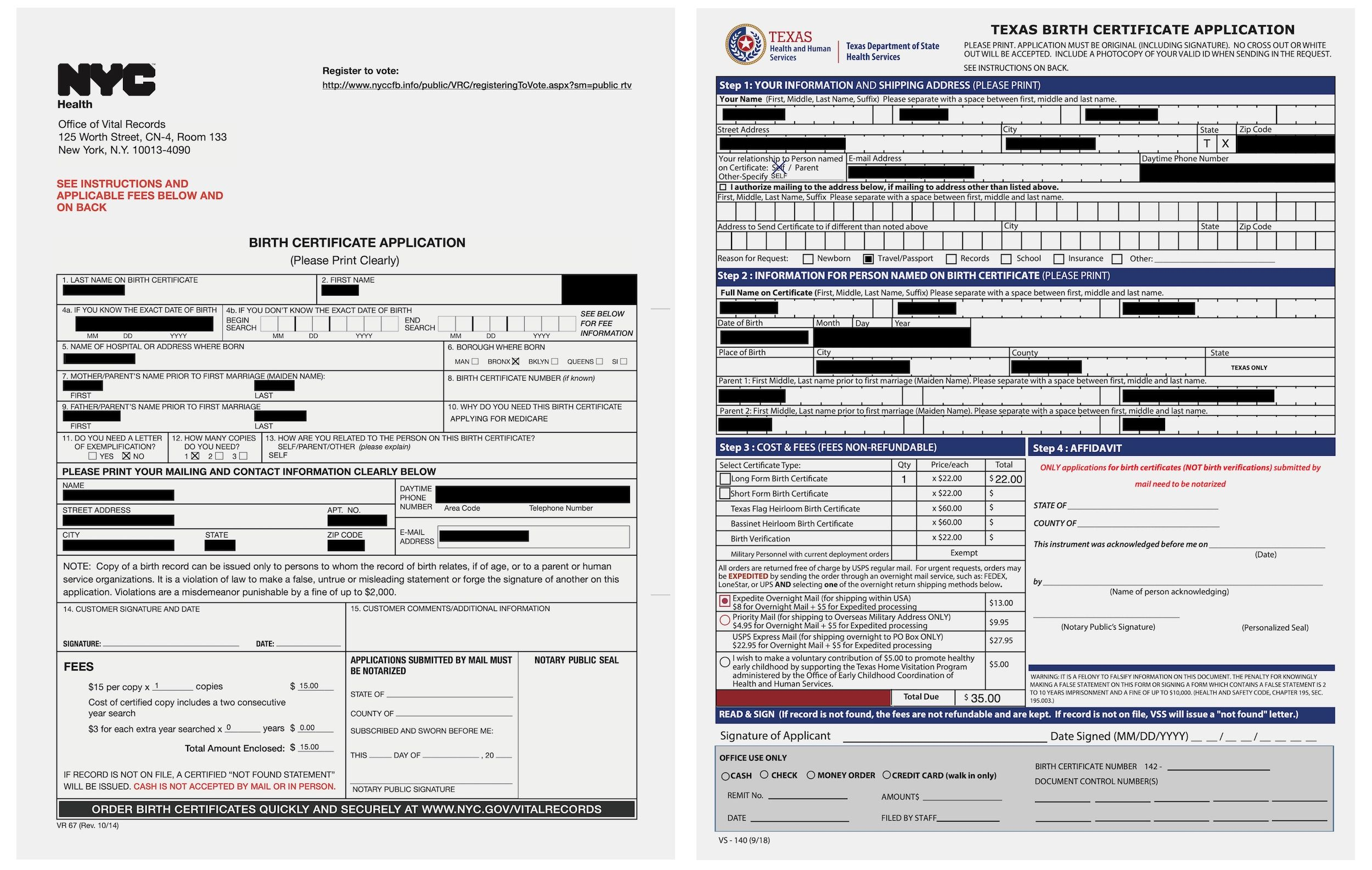 U.S. birth certificate details left online Birth