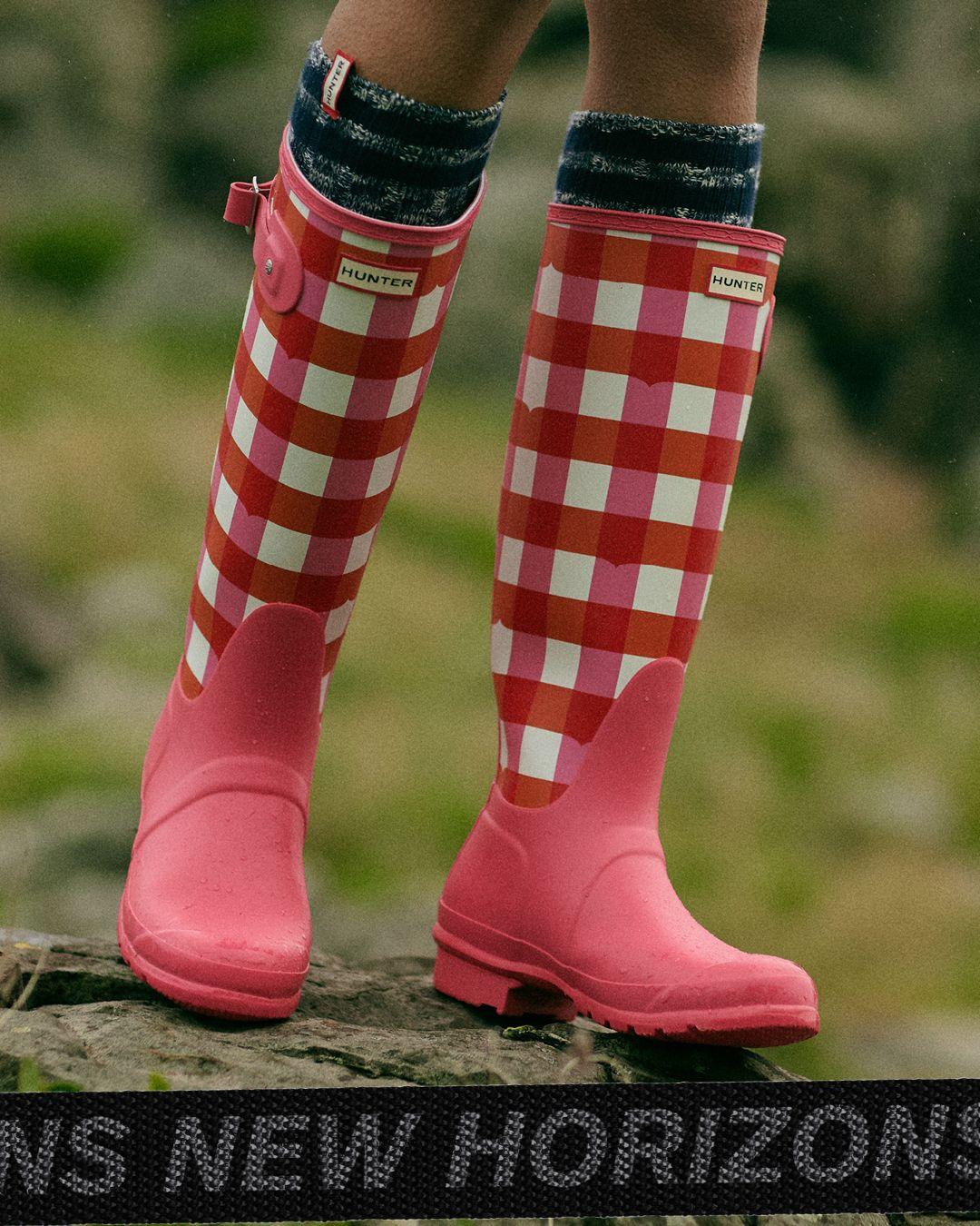 Ladies Mud Rocks Blue Grey Striped Wellington Boots Wellies Adjustable Buckles 7