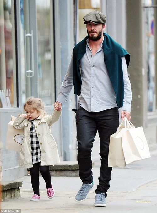 David Beckham's daughter Harper hits the shops while holding hands with her daddy   Daily Mail Online
