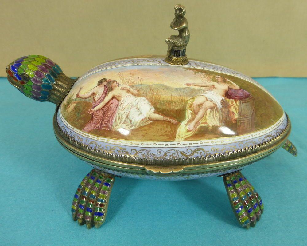 Rare Austrian Sterling Silver Enamel Statue Box Turtle Satyr Hermann Bohm C1870 #HermannBohm