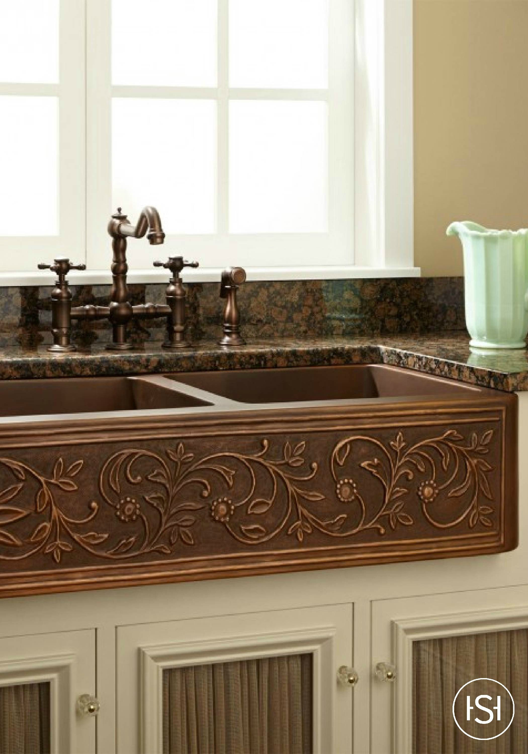 Standout Farmhouse Designs 36 Quot Vine Design Double Bowl Copper Farmhouse Sink The