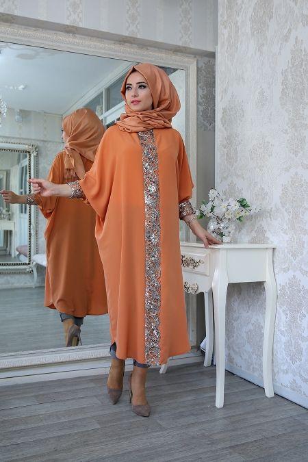 Elisa Ferace Tunik Kiremit Lefzen Afrika Modasi Islami Moda Kadin Giyim