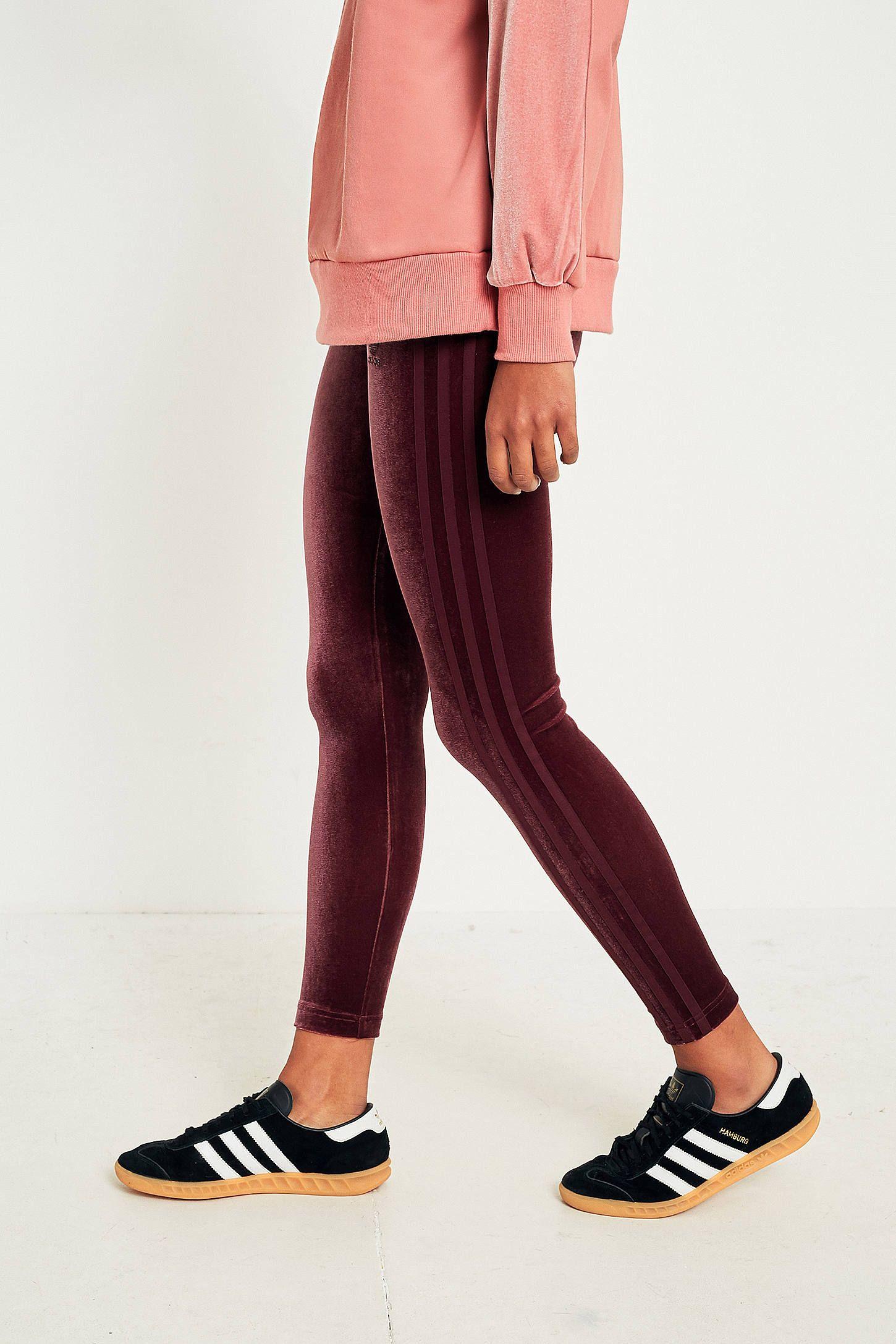 adidas Originals 3 Stripe Burgundy Velvet Legging | Fabulous