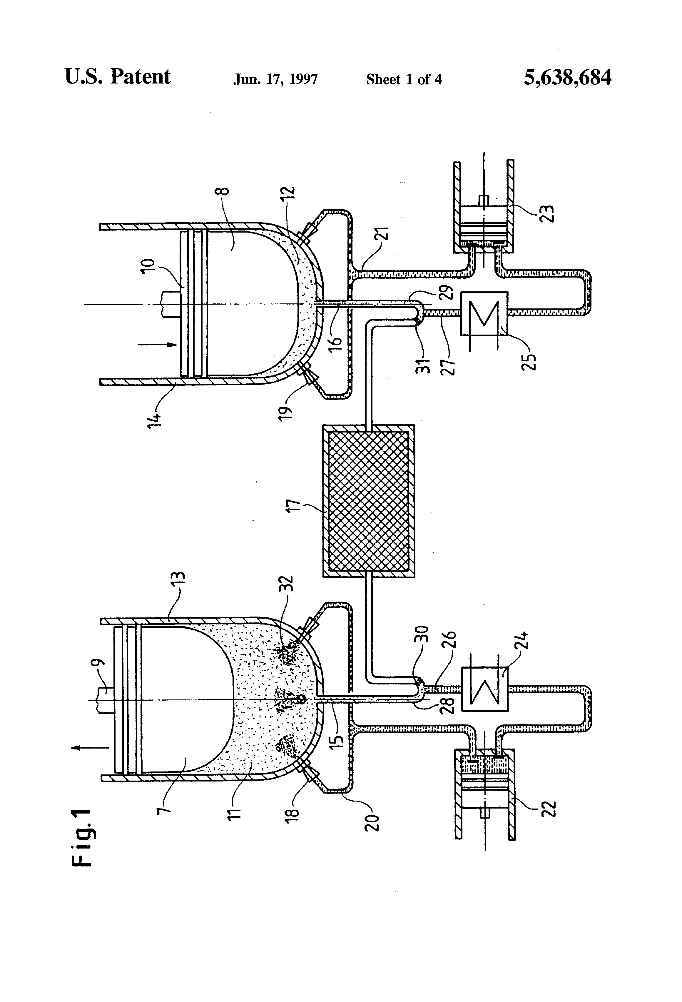 stirling engine with injection of heat transfer medium us 5638684 a patent  drawing