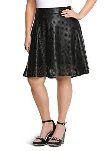 Fashion Bug Plus Size Perforated Faux Leather Skater Skirt www.fashionbug.us #PlusSize #FashionBug #Skirts