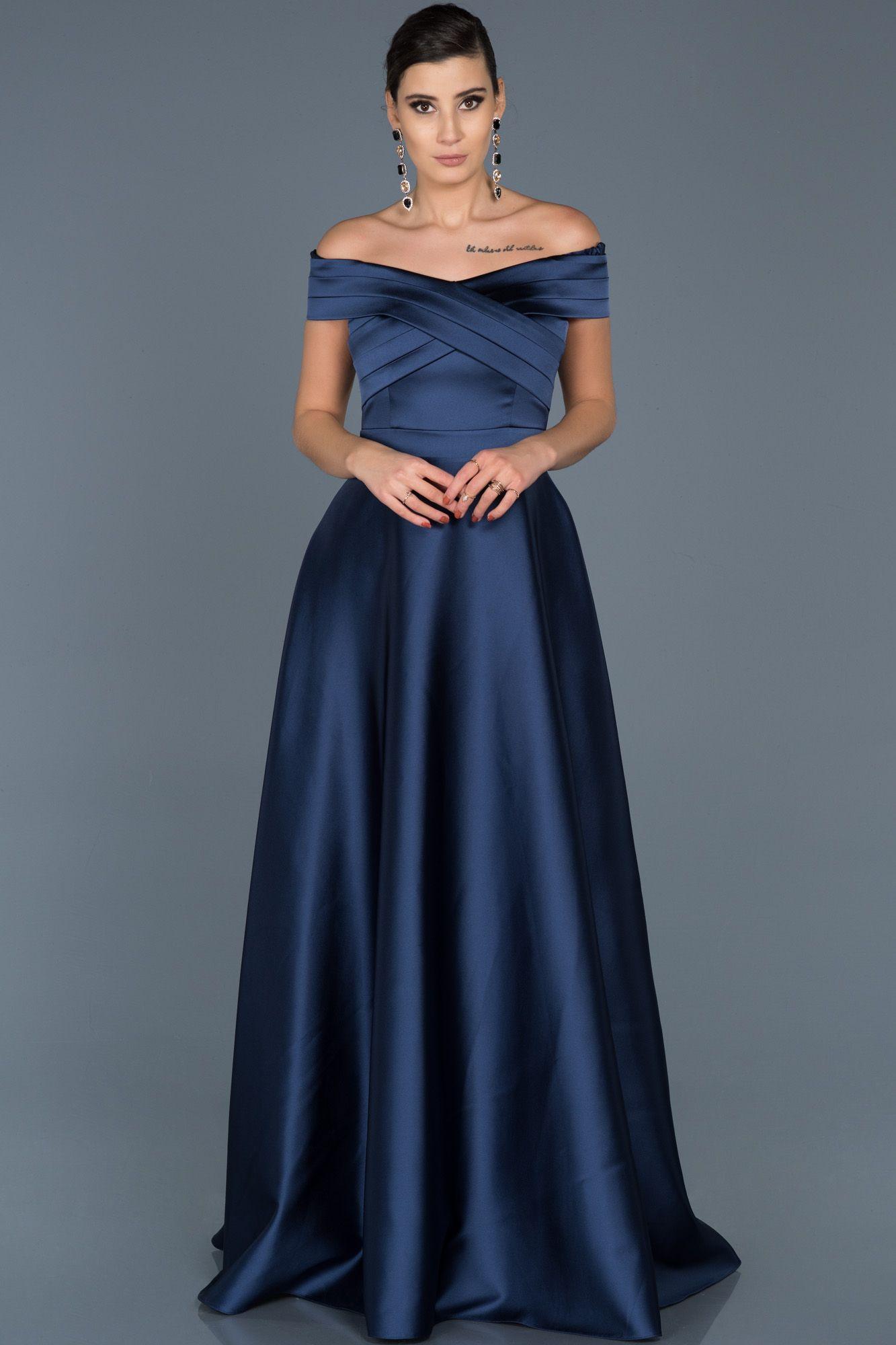 Lacivert Kayik Yaka Prenses Abiye Abu541 Uzun Elbise Elbise Moda Stilleri