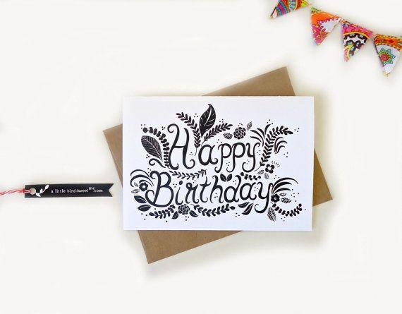Happy Birthday Card Hand Drawn Typography By Alittlebirdtweetme 4 50 Cool Birthday Cards Birthday Card Drawing Birthday Card Design