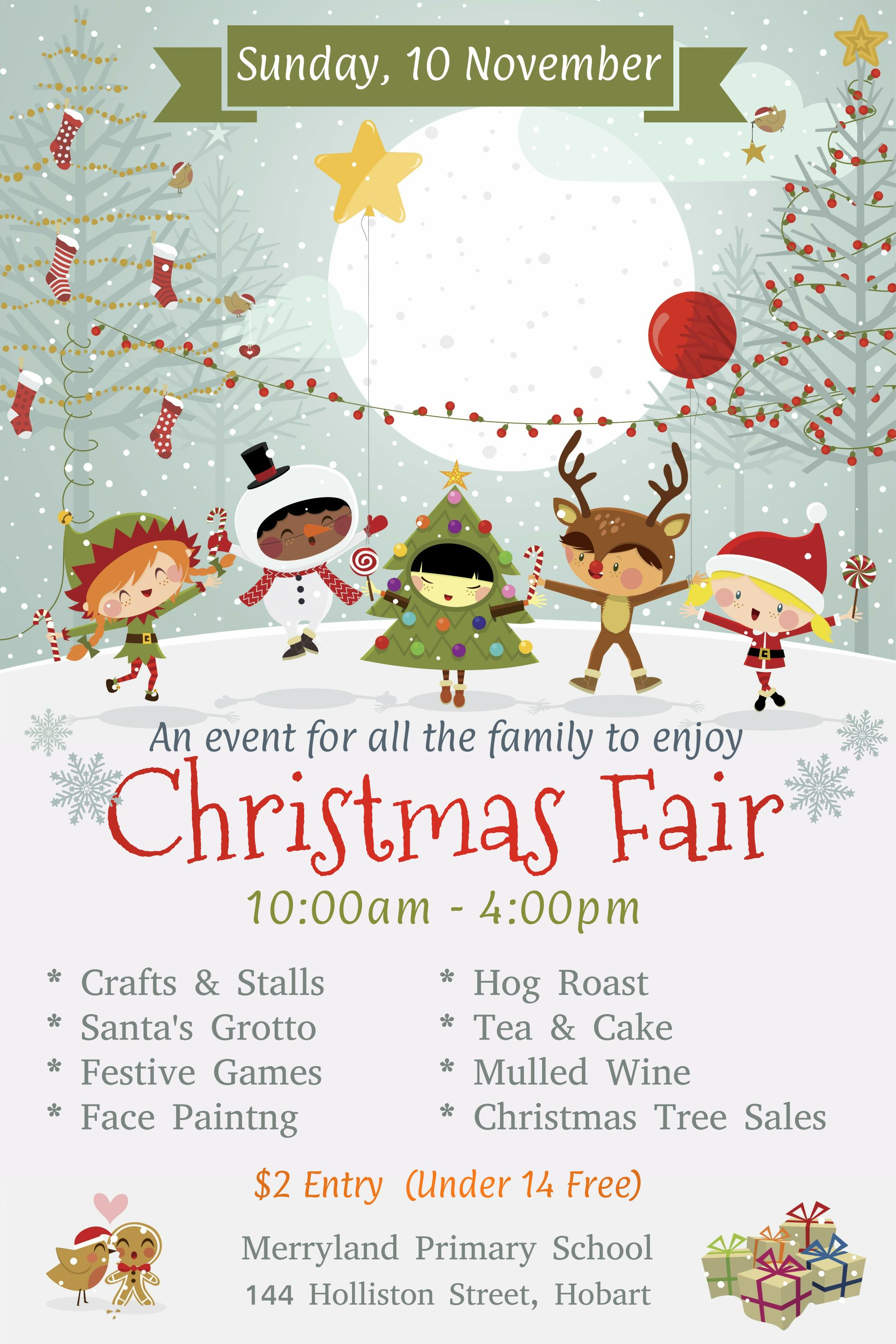 Christmas Fair Announcement Poster Template Design