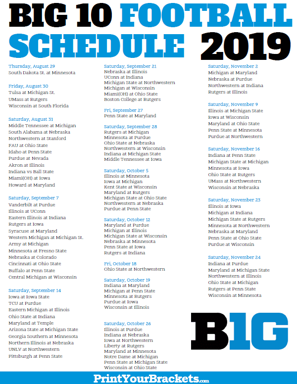 Printable Big 10 Football Conference Schedule 2019 Big 10 Football Football Conference Buckeye Football Schedule