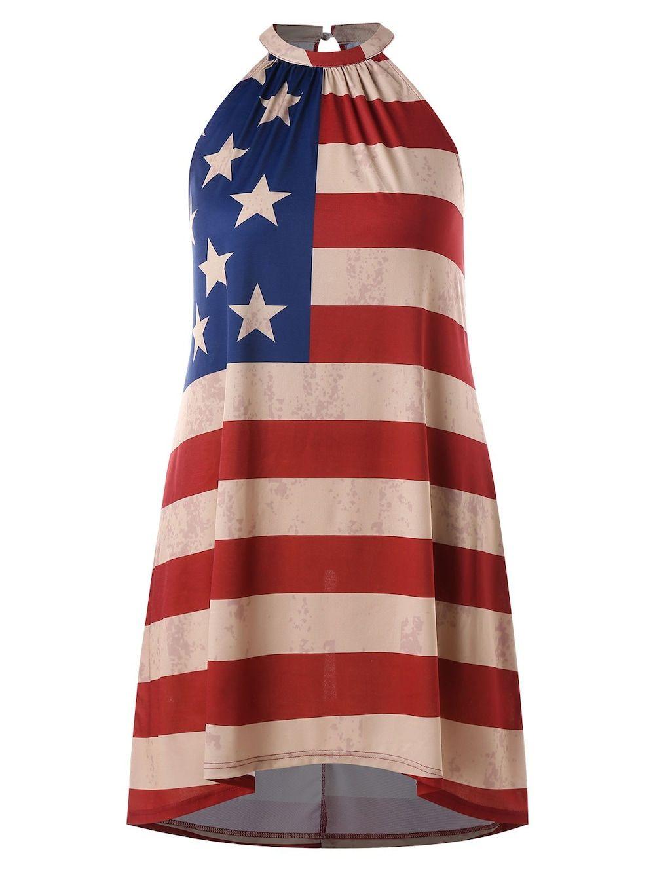 Plus Size American Flag Print Dress - multicolor 3X | Flag ...