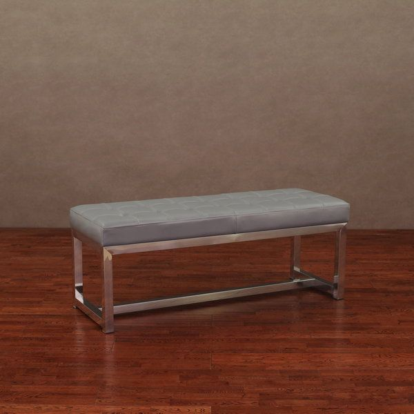 Liberty Charcoal Grey Leather Bench - Overstock™ Shopping - Great Deals on Benches