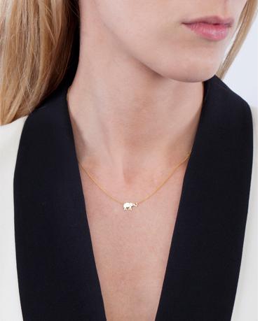 18K Gold  Diamond Elephant Necklace