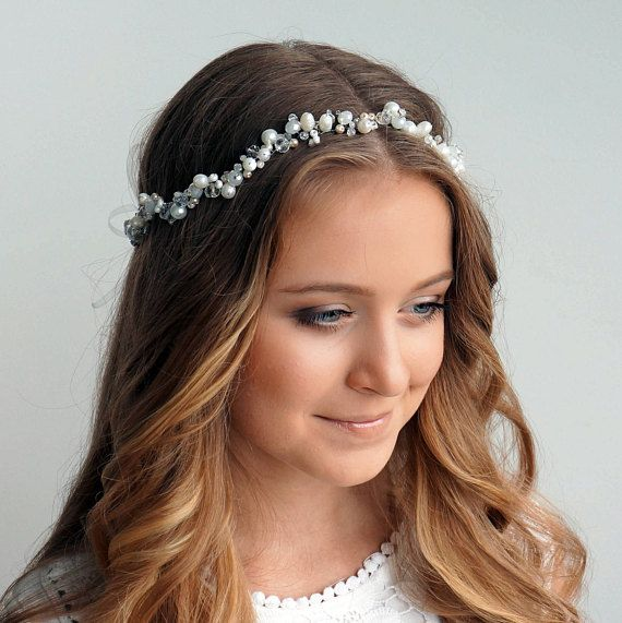 Bridal headband-Wedding hair piece-Pearl crown-Pearl tiara-Bridal hair  accessories-Wedding headpiece -Bridesmaid headband-Blue for bride  Very  beautiful and ... 5365d16cf4e