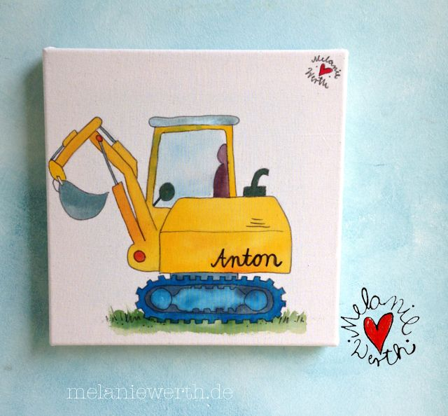 Antons Bagger Kinderzimmerbild | Malerei für Kleine | Pinterest ...