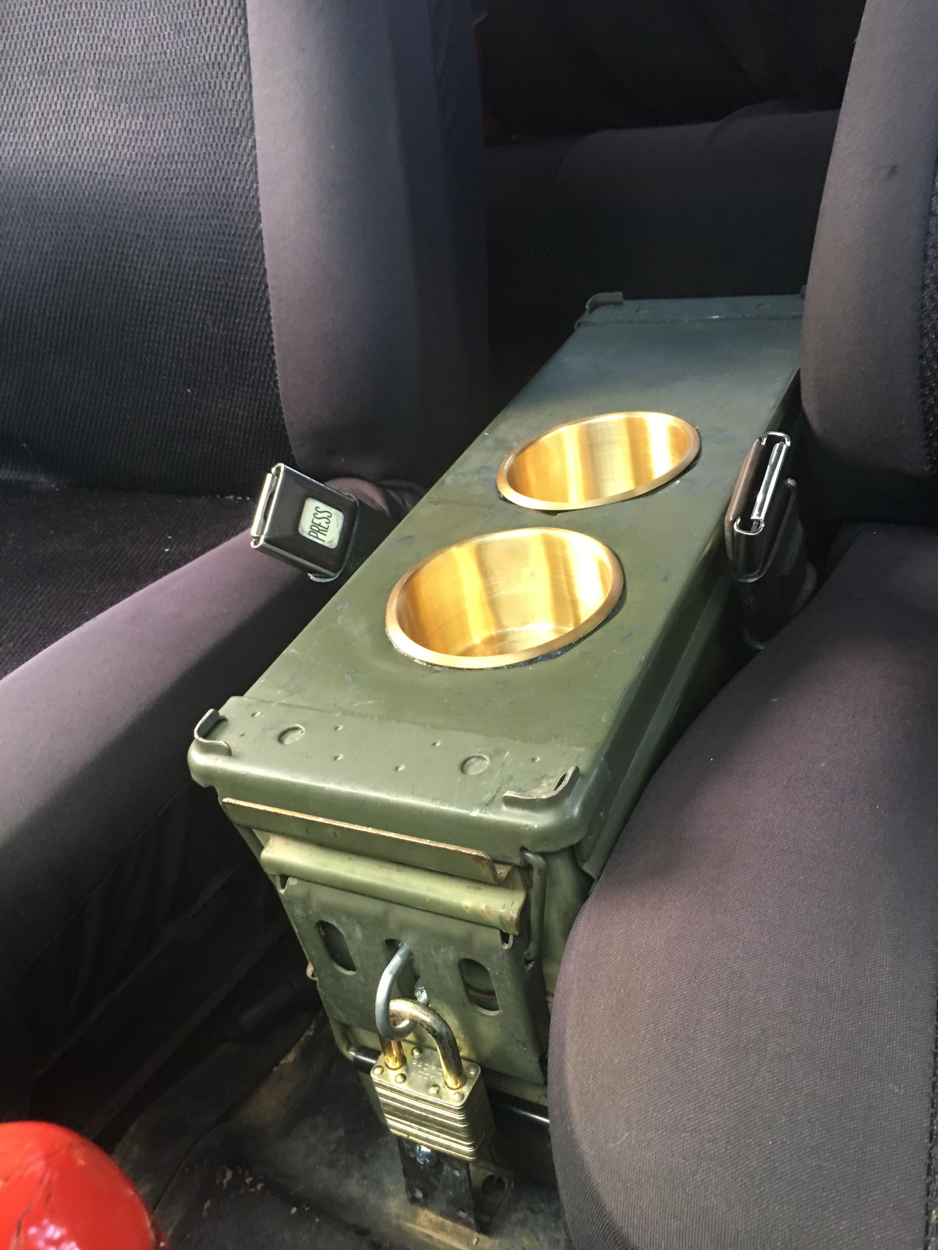 40mm Ammo Can Center Console With Brass Cup Holders
