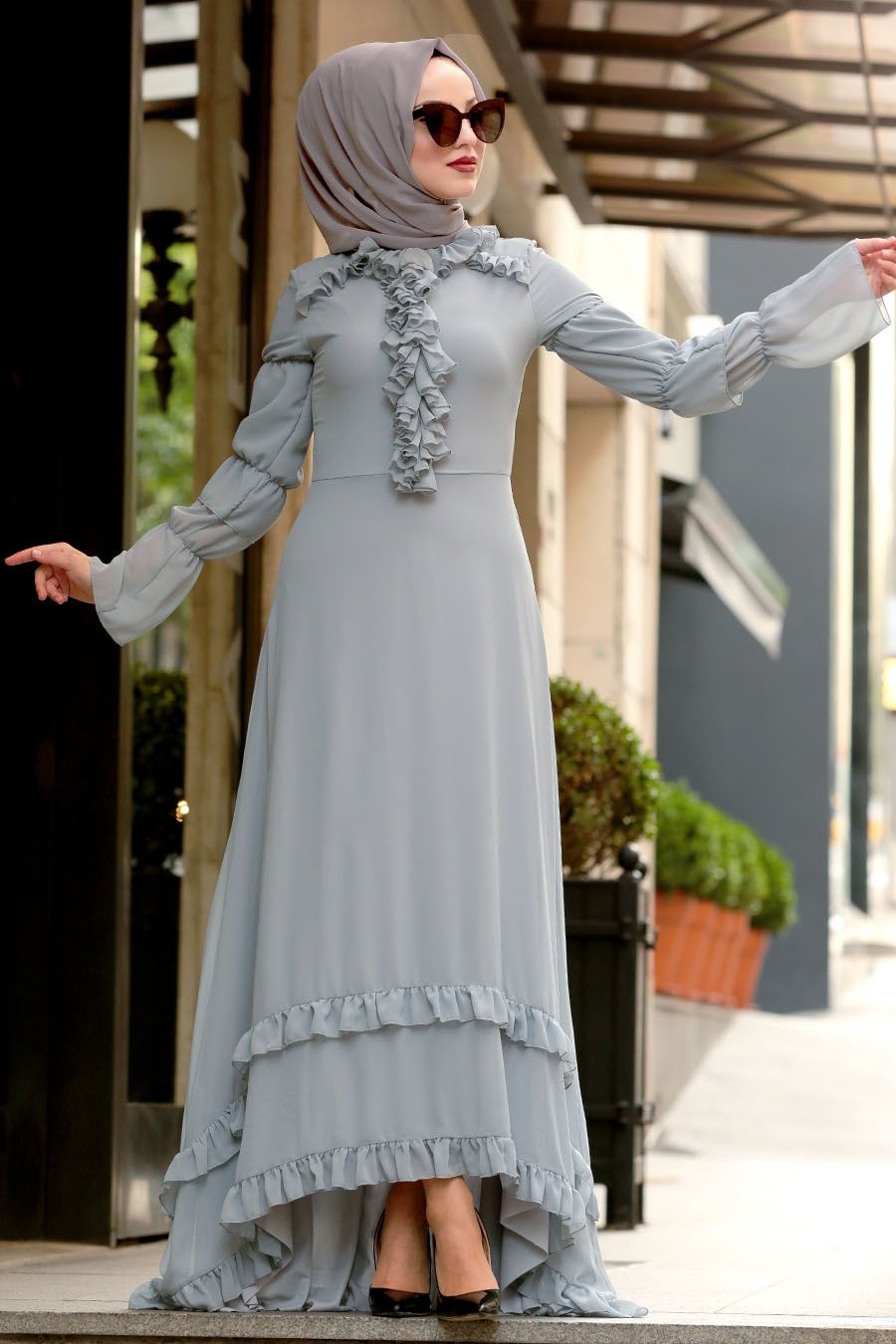 Nayla Collection Firfirli Gri Tesettur Elbise 196712gr Tesetturisland Com Elbise The Dress Elbiseler