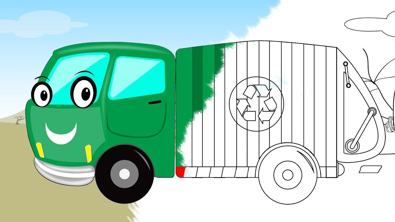garbage truck | coloring book | scary video for kids | halloween ...