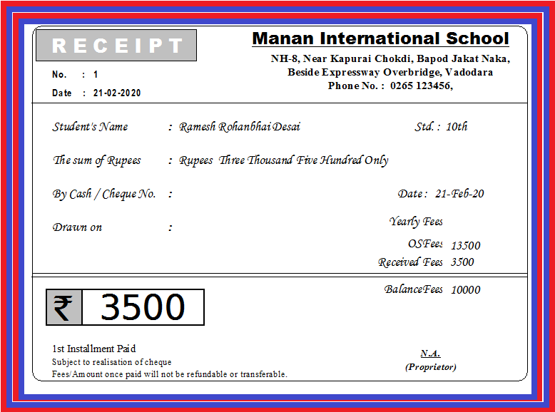 Fees Receipt For School Tution Class Academy University Student Attendance Sheet School Fees Retail Software