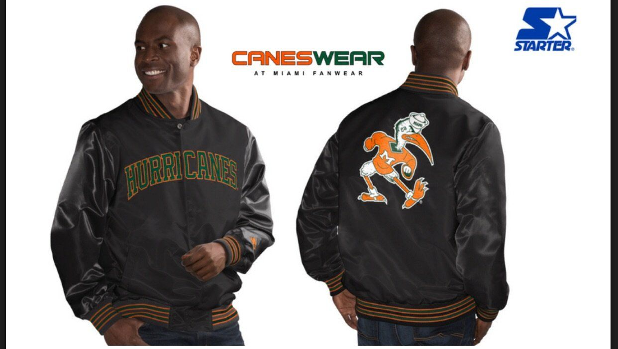 Miami Hurricanes Classic Starter Jacket Black Front And Back Design If Picking Up In Store Please Put In Note Sectio Miami Hurricanes Jackets Vintage Jacket