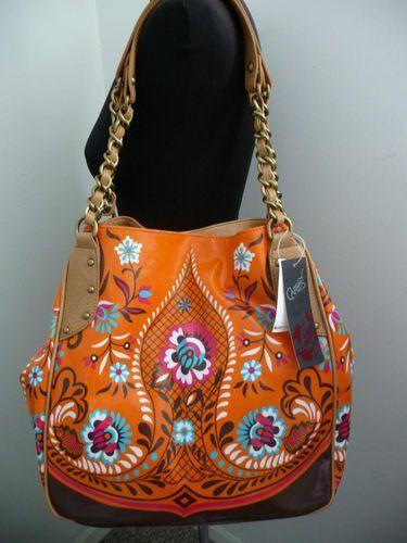 Carlos By Santana Handbag Fl Orange Satchel