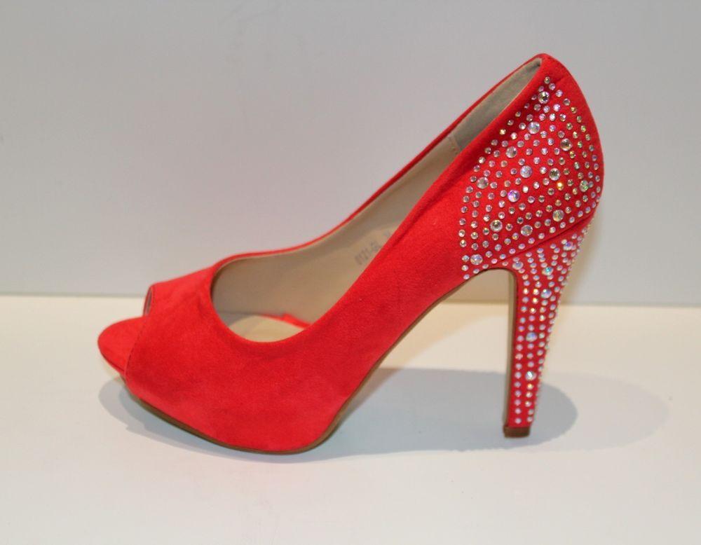 Escarpins ROUGE corail chaussures femme talons hauts soirée strass 36   eBay b0f6a1d519fa